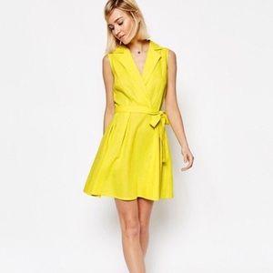 ASOS Sleeveless Mini Neon Yellow  Shirt Dress